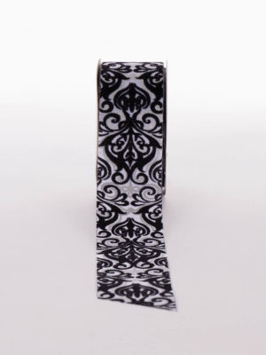 AA12P340.38-RIBBON-SILVER-BLACK-FELT-FLOCK
