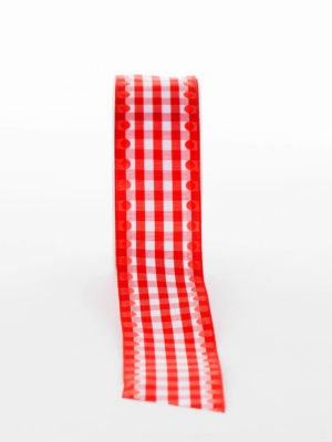 CH087-12-RIBBON-GINGHAM-SPOT-RED-WIRED-EDGE