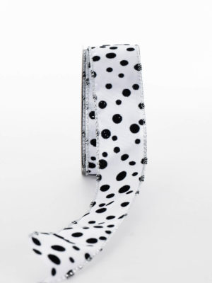 P312D02.38-RIBBON-WHITE-VALVET-BLACK-SPOT
