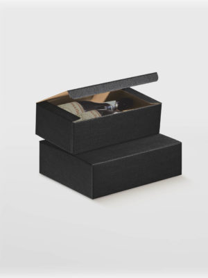 Black Wine Box With Flip Lid