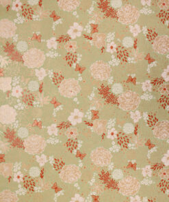 Fine Flower Garden Rusty Mint Wrapping Paper Available In Different Length